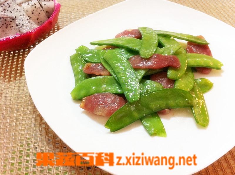 果蔬百科荷兰豆青椒炒腊肠的做法